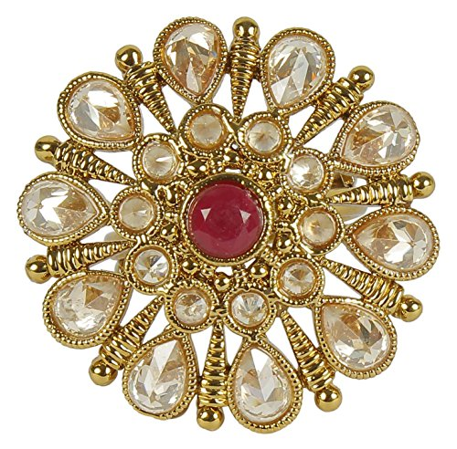 Indian Ring (MUCHMORE Indian Awesome Gold Tone Crystal Stone Fashion Rings Partywear Traditional Jewelry)