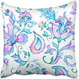 Throw Pillow Cover Square 18x18 Inches Watercolor Hand Paisley Whimsical Blue Flowers Leaves Oriental Arabic Indian Spain Turkish Pakistan Polyester Decor Hidden Zipper Print On Pillowcases
