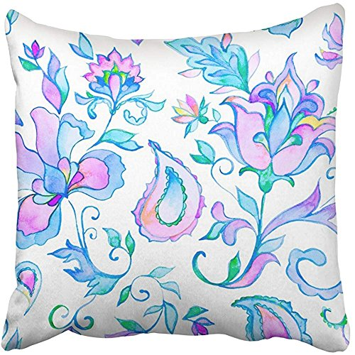 Throw Pillow Cover Square 18x18 Inches Watercolor Hand Paisley Whimsical Blue Flowers Leaves Oriental Arabic Indian Spain Turkish Pakistan Polyester Decor Hidden Zipper Print On Pillowcases by Starosa