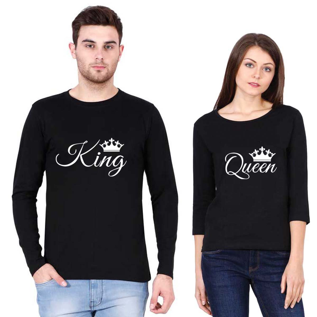 3a3395a82 Addmetocart Couples King - Queen Premium Round Neck Full Sleeve Men   3 4th Sleeve  Women Black T-Shirt (S-XL)  Amazon.in  Clothing   Accessories