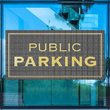 Classic Gold Perforated Window Decal Public Parking CGSignLab 96x48 5-Pack