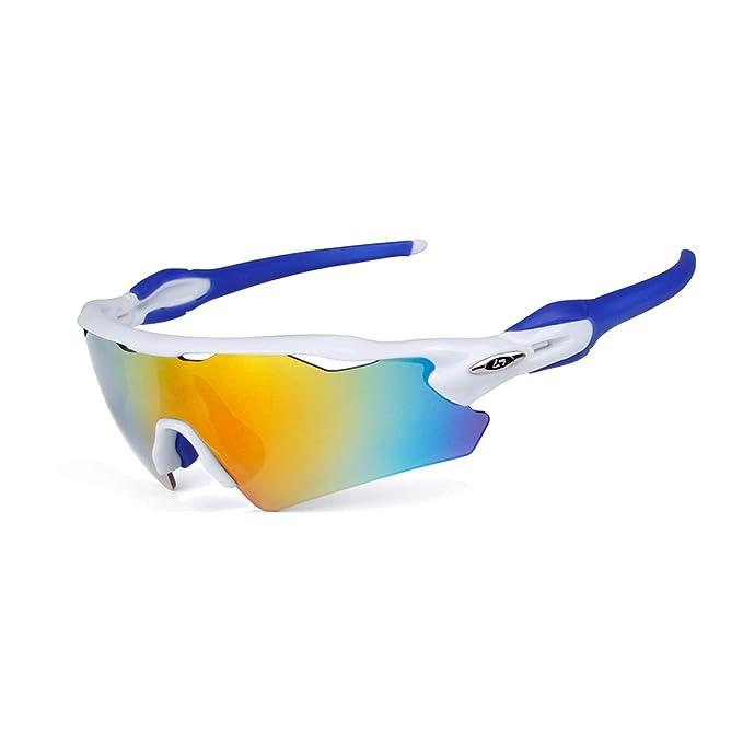 AnazoZ Gafas Protectoras Deporte Gafas Deportivas Gafas Control de Arena Gafas Polarizadas Gafas de Montar Gafas Blanco Azul: Amazon.es: Ropa y accesorios