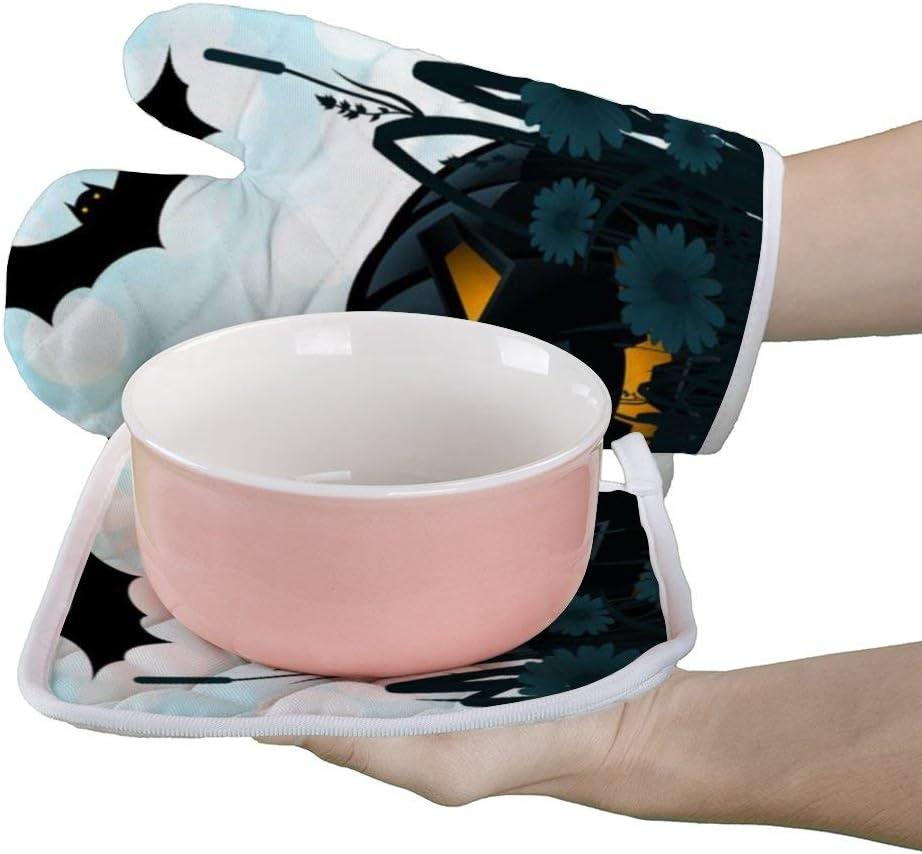 Wrution Gants de Cuisine pour Chauve-Souris Halloween Noir Fleur R/ésistant /à la Chaleur Gants de Cuisine Professionnels Maniques de Cuisine pour BBQ Cuisson Cuisson Personnalis/é