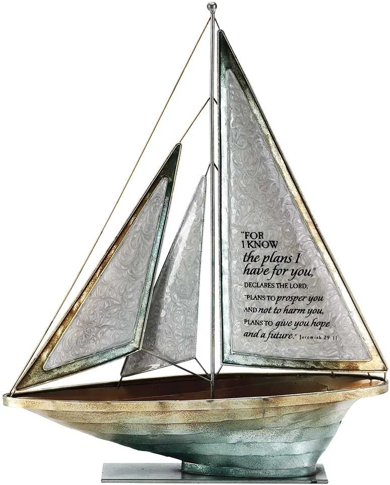 I Know Declares The Lord 16 x 14 Metal Table Top Sailboat Figurine Decoration