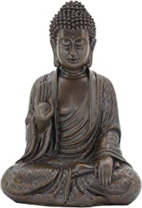 Leekung Meditative Seated Buddha Statue,Rustic Buddha Decor Figurine,Antique Meditation Buddah Home Decoration 11'inch Brown Color
