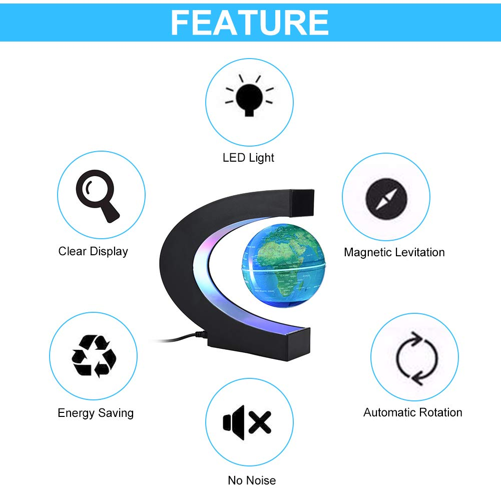 Globo rotante a levitazione magnetica Luce a LED colorata Globo galleggiante blu
