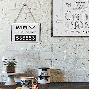 AUNMAS WiFi Password Chalkboard Retro Wall Hanging Display Signage Blackboard for Coffee Shop Bookstore Decor(1#)