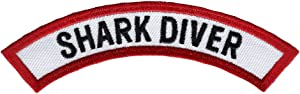 Shark Diver Chevron Patch Embroidered Iron On Scuba Diving Emblem Souvenir