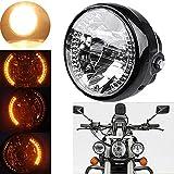 FidgetGear UNIVERSAL FIT 7'' H4 Motorcycle Sportbike Headlight LED Turn Signal Amber Light