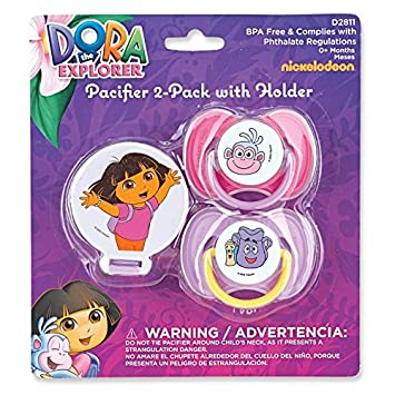 Amazon.com : Nickelodeon Dora Pacifiers with Pacifier Holder, 2 Pack ...