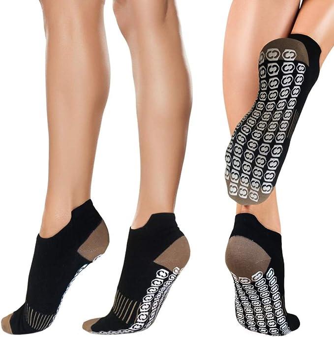 Copper Compression Non Slip Yoga Grip Socks for Women. No Skid Gripper Pilates