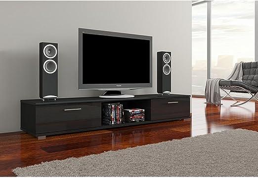 JUSTyou Aridea Mueble para TV Mesa televisión salón Tamaño: 28x176x40 cm Color: Negro Mat: Amazon.es: Juguetes y juegos