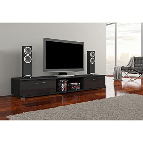 b950bdd114b JUSTyou Aridea Mueble para TV Mesa televisión salón Tamaño  28x176x40 cm  Color  Negro Brillante