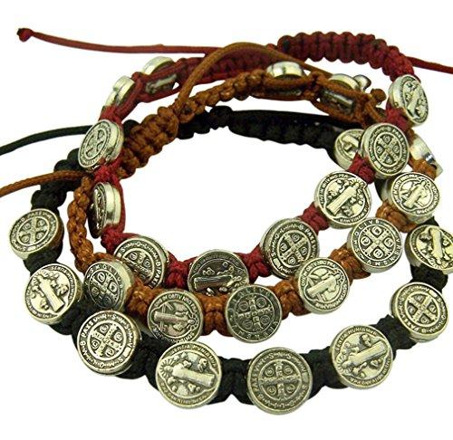 Catholic Brands Saint Benedict Evil Protection Medal on Adjustable Cord Bracelet, Set of 3, 8 Inch (One Set (Black, Brown, Red)) ()