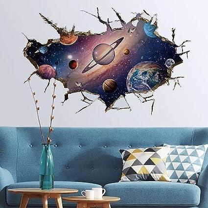 WandSticker4U- Wandtattoo in 3D Optik: SONNENSYSTEM   Wandbild: 60x90 cm    Wandsticker Weltraum Universum Galaxie Planeten Weltall Wand-aufkleber ...