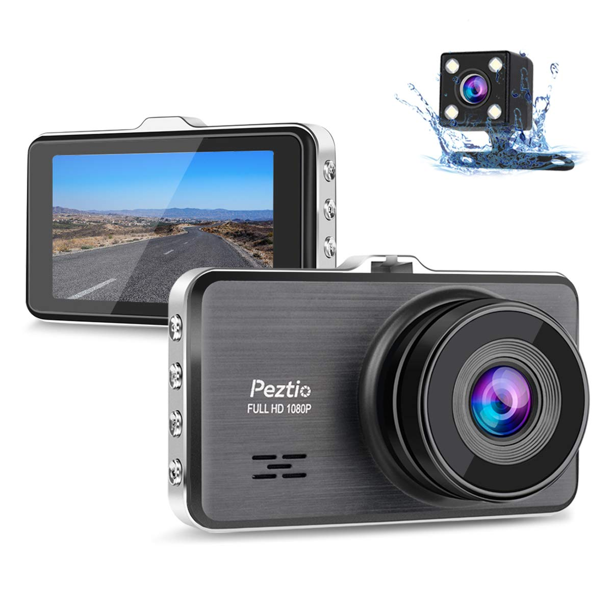 Dual Dash Cam Front and Rear, 1080P Full HD Car DVR Dashboard Camera Recorder with Night Vision, 3 inch IPS Screen, 170 Super Wide Angle, G Sensor, ...