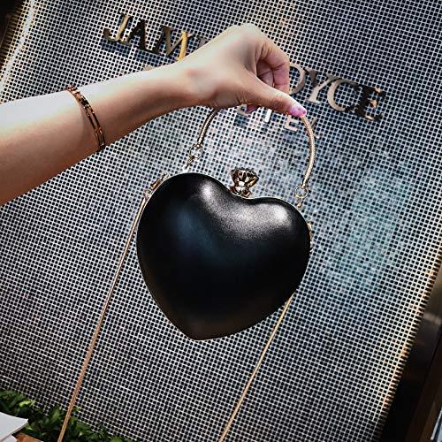 bandoulière élégante 120 de pour Hero Soleil nbsp;cm en dîner Embrayage Noir Sac Rose à cœur bandoulière Sac Femme avec 14X16X3CM PU Forme 5Zcaa