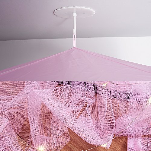 Loisleila Princess Lace and Net Round Bed Canopy by 120-Inch with Light (Pink) by Loisleila (Image #7)