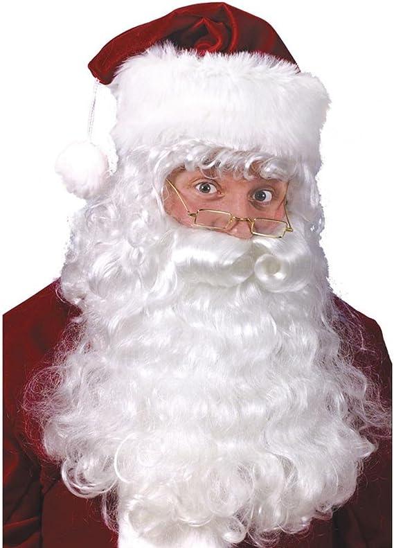 2 pcs White Beard Decorative Santa Claus Curly Wig Santa Wig for Women Men Adult