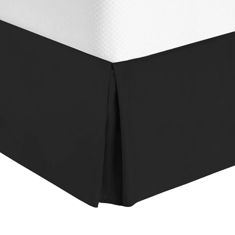 "Nestl Bedding Pleated Bed Skirt - Luxury Microfiber Dust Ruffle - Sleek Modern Bed Skirt - 14"" Tailored Drop, Twin XL, Black"