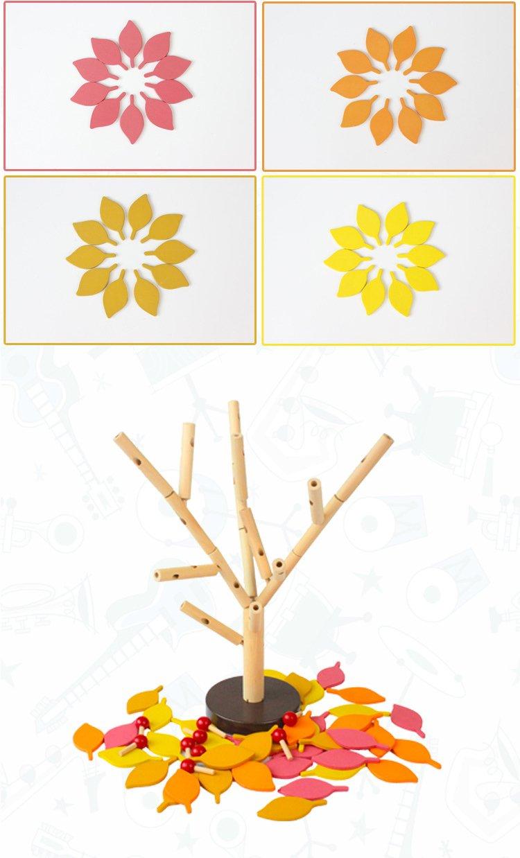 Agirlgle Creative Wood Building Blocks Tree Set for Kids Children Men Preschool Boys and Girls DIY Learning Educational 3D Wooden Assembled Toys Tile Game /—Home Office Decor Four Colors Leaves