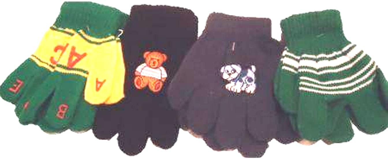 Set of Four Pairs One Size Magic Gloves for Infants Toddlers Ages 1-4 Years