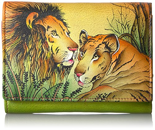 Anna by Anuschka Hand Painted Leather Women's Three Fold Wallet | Lion in Love