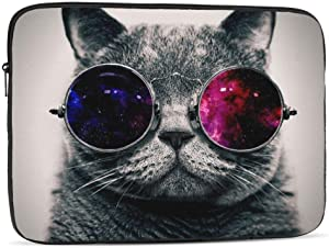 13 15 Inch Laptop Sleeve Bag Compatible with MacBook Pro Air Waterproof Shock Resistant Notebook Protective Bag Carrying Case with Small Case - Galaxy Hipster Cat