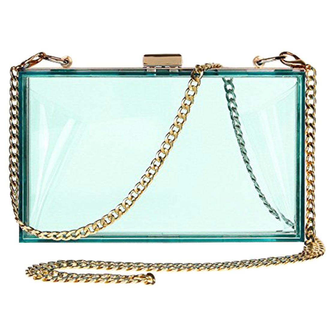 Women Cute Transparent Clear See Through Box Clutch Acrylic Evening Handbag Cross-Body Purse Bag (green)