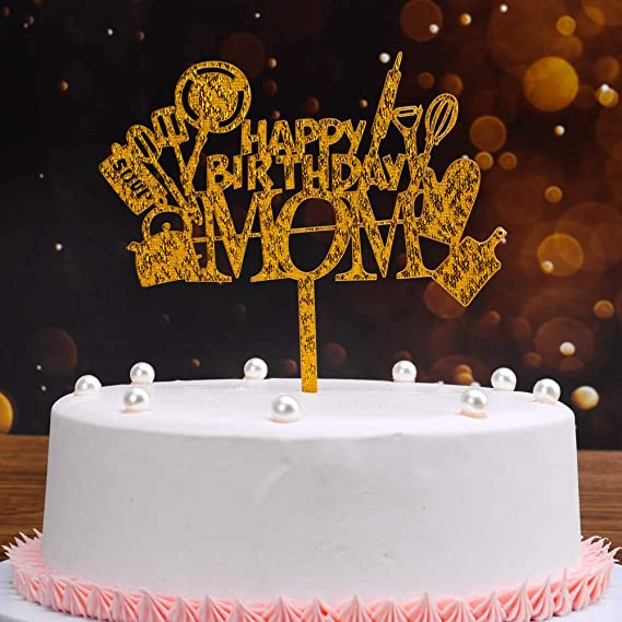 Astounding Gold Acrylic Monther Birthday Cake Topper Happy Birthday Mom Mama Funny Birthday Cards Online Inifofree Goldxyz