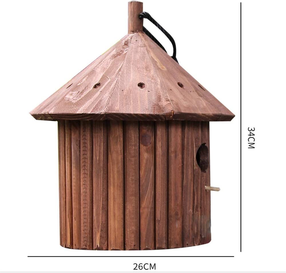 yofit Outside Wooden Bird House Ventilation Hanging Bird House for Small Bird Chickadees Sparrows