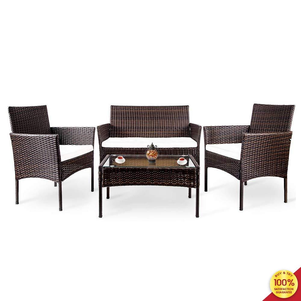 Suwikeke 4 PC Outdoor Garden Rattan Patio Furniture Set Cushioned Seat Wicker Sofa, Deep Brown by Suwikeke