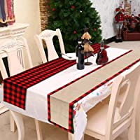 ZAZO Premium Quality Black Red Plaid Waterproof Double Sided Table Runner for Home Christmas Wedding Party Table…