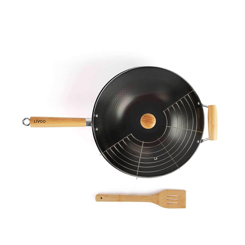 Tiefe Pfanne, Bambusspatel, Antihaftbeschichtung, Holzgriff Wokpfanne mit Deckel und Rost Wok Induktion 35 cm Carbonstahl