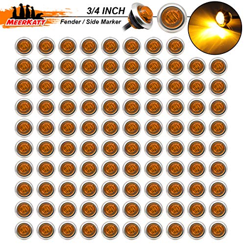 Meerkatt (Pack of 100) 3/4 Inch Round Amber LED 3 Diodes Side Marker Fender Light 2835 SMD with Stainless Chrome Bezel Sealed Bullet Lamp Trailer Pickup Truck RV SUV Lorry Jeep 12V DC Waterproof 3led