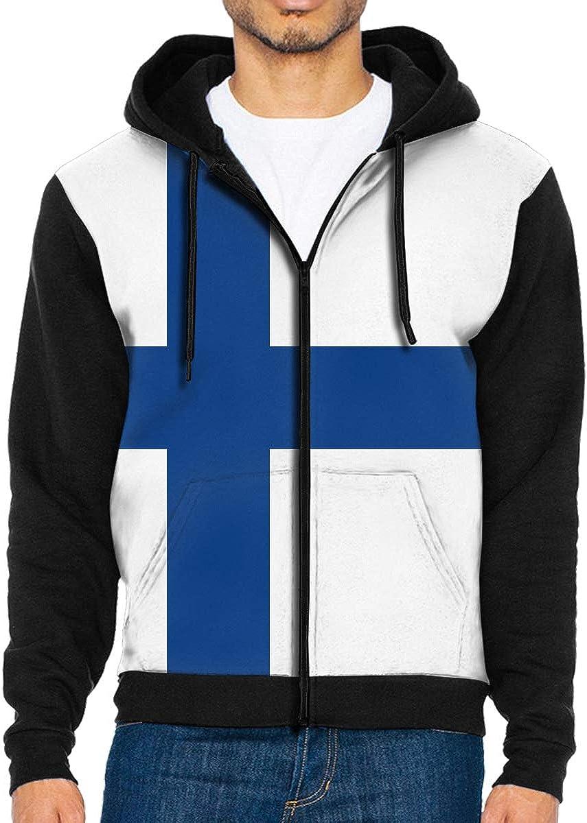Alion Men Long Sleeve Solid Color Plus Size Zipper Hooded Drawstring Coat 3 XS