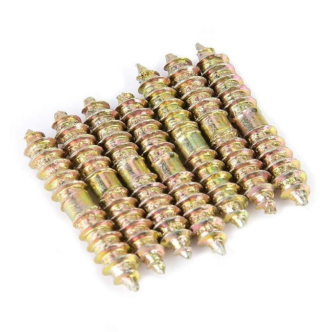 50mm schraube aufh/ängung doppelseitige spike selbstschneidende schrauben gewinde zimmerei m/öbel stecker stangen 10 st/ücke 6