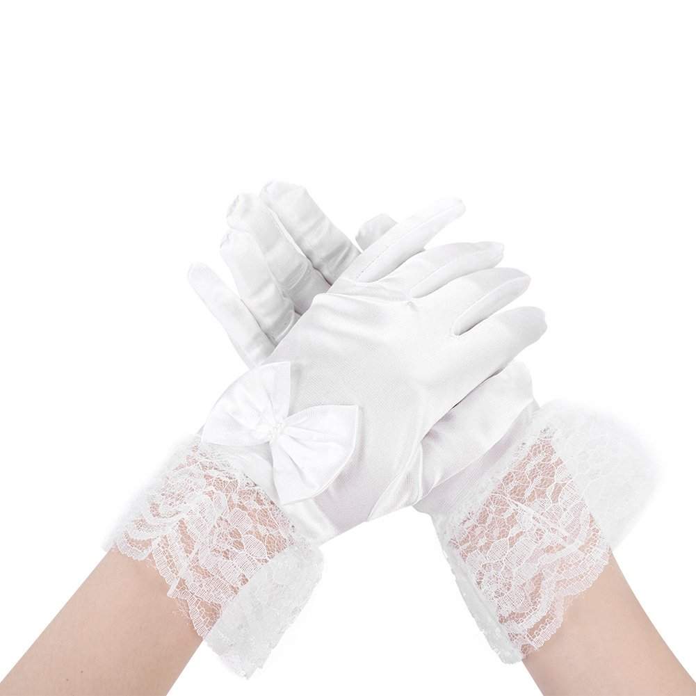 fcbc645707c Amazon.com  Girls Satin Gloves Dress Up Fancy Communion Tea Party Gloves  for Special Occasion Dress Formal Wedding Pageant Party Short  Clothing