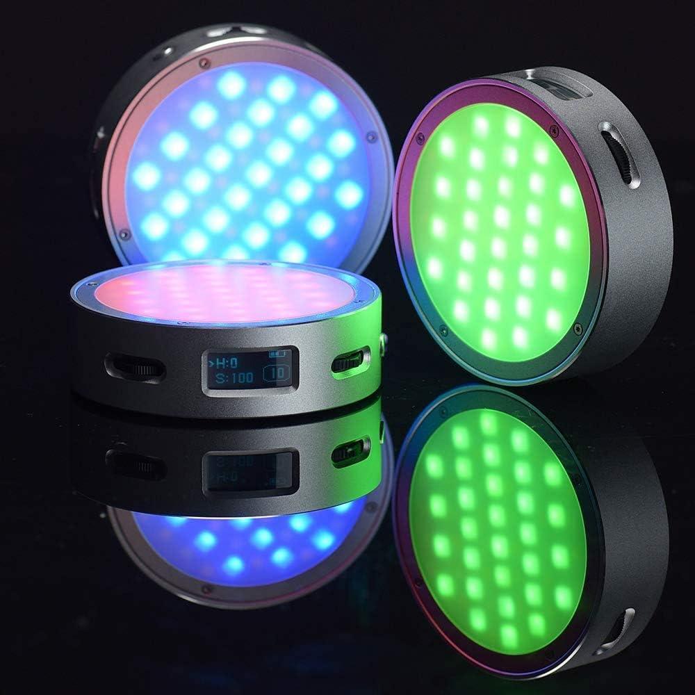 14 Effets de Lumi/ère FX 2500K-8500K R/églable Godox R1 Round Video RGB LED Light Lampe Full Color Mini Lumi/ère Cr/éative Installation Magn/étique Rapide avec Mode D/éclairage Musical Cr/éatif-Argent