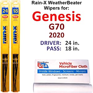 Rain-X WeatherBeater Wiper Blades for 2020 Genesis G70 Set Rain-X WeatherBeater Conventional Blades Wipers Set Bundled with MicroFiber Interior Car Cloth