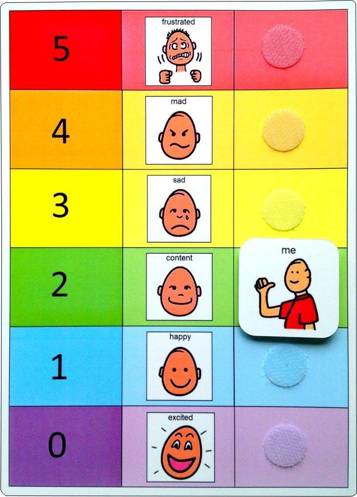 Plastic Visual ASD Feelings Board and Keyring (Picture Communication Symbols)