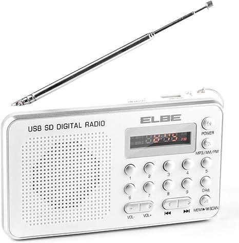 ELBE RF-49-USB Radio con Lector de Tarjetas, Radio Digital FM, Lector mp3, USB, TF, mmc, SD, Altavoz Incorporado, aux-in, batería Recargable, USB ...