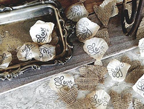 Flower Girl Basket petals, Burlap wedding Confetti, Burlap Decor, Aisle rose petals, Wedding Rose Petals, Petal Decorations,Vintage Burlap table scatter, Love and burlap hearts, (Fanciful Baskets)