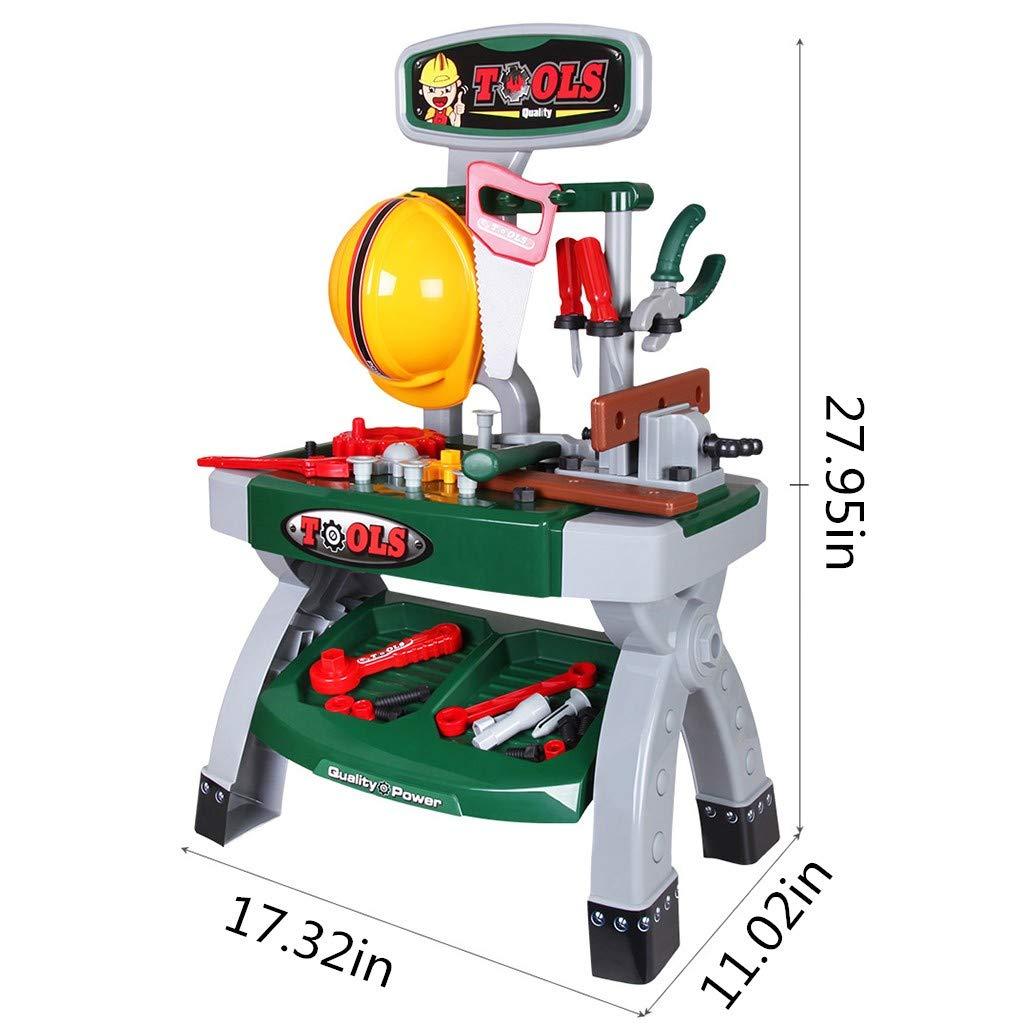 Mefedcy Kids Construction Toy Workbench for Toddlers Kids Power Workbench Construction Tool Bench Set with Toy Tool Drill and Helmet (Army Green)