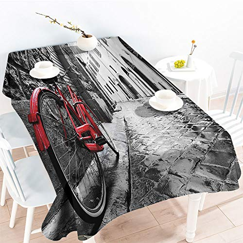 (Jinguizi Rectangular Table Covers Classic Bike on Cobblestone Street in Italian Town Leisure Charm Artistic Photoindoor Outdoor TableclothRed Black and White(60 by 102 Inch Oblong Rectangular))