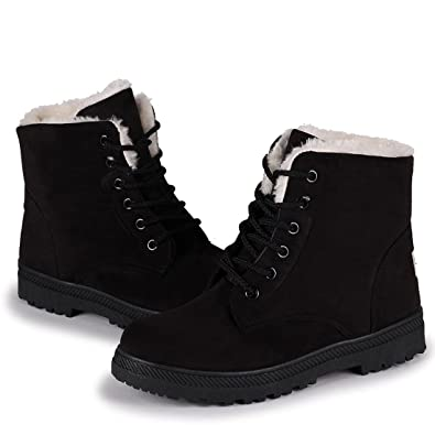 0fd989f26d00 Inornever Faux Suede Snow Boots for Women Flat Platform Sneaker Shoes  Winter Outdoor Ankle Booties Black2