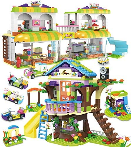 1195 Pieces Tree House Building Toy Kit, Shopping Supermarket Creative Blocks Set for Kids – Portable Storage Box with Base Plates Lid – Best Learning and Roleplay Gifts for Boys Girls Ages 6-12