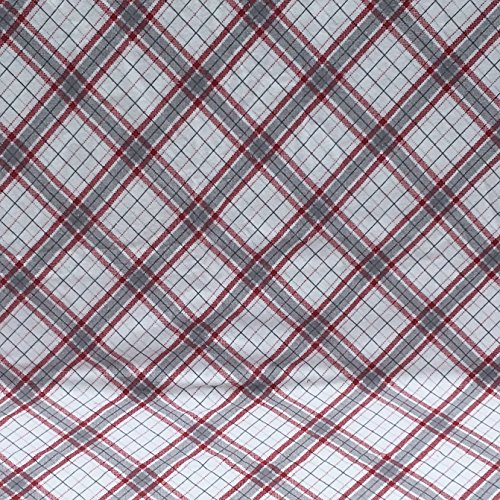 Grey white and red plaid flannel baby blanket great baby gift by Laughing Heart Designs