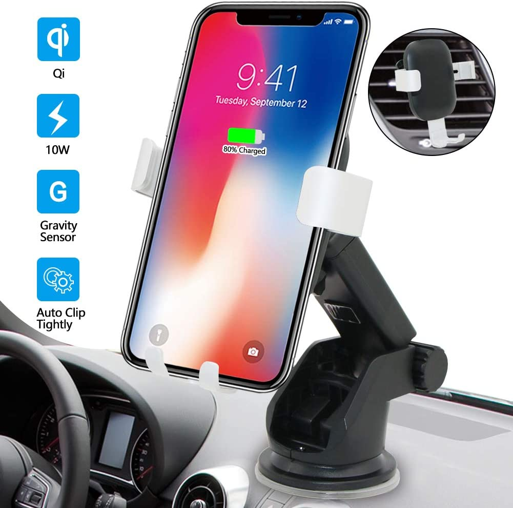 iPhone X Xs Max 8 Plus Qi Enabled Devices BENEWEAR Wireless Charger Car Mount Phone Holder for Airvent Windshield Dashboard Fast Charge Compatible with Samsung Galaxy S10 S9 Plus S8 S7 Edge Note 8 5