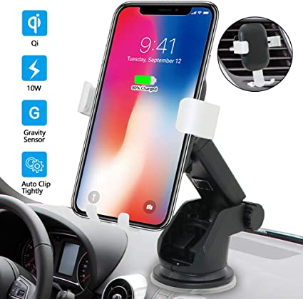 Note 8//5 Wireless Charger Car Mount HOL star sound source Fast Charging for Galaxy S9// S8+// S7// S7 //S6 Edge Wireless Car Charger Mount Holder Gravity Air Vent Car Phone Bracket for iPhone X// 8//8 Plus /& Qi Devices